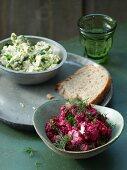 Artichoke and feta spread and beetroot and feta spread