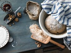 Unbaked bread and ingredients