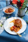 Marsala Savarin with apricot compote and whipped cream