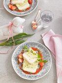 Parfait mit Pistazien und Erdbeeren zu Ostern