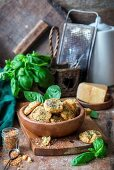 Cookies with parmesan, basil and dried garlic