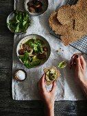 Multi seed crispbread with hummus