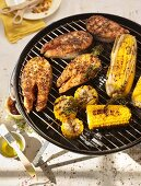Salmon with corn on the grill