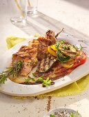 Grilled salmon skewers and vegetables