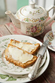 Honey cake with butter (afternoon tea)