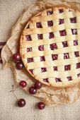 Cherry pie with a lattice top