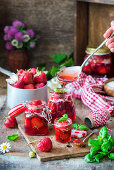 Strawberry jam with basil