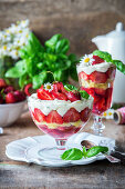 Strawberry and basil trifle