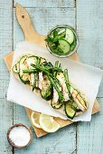 Ciabatta with chicken, zucchini and asparagus