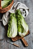 Chicory on a wooden chopping board