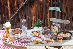 A rustic lunch served in a beer garden