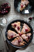 Cranberry cake with icing sugar