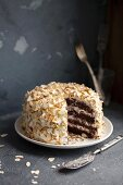 Chocolate cake with flaked almonds