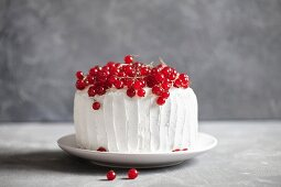 Cream cake with red currants