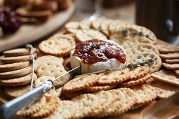 Camembert with crackers and chutney