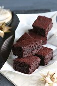 Brownies with dark chocolate and almonds for Christmas (gluten free)