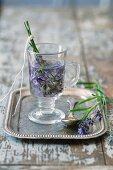 Lavender tea in a glass