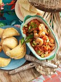 Creole prawns and empanadas with chicken