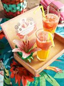 Mango and strawberry daiquiris