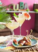 Pineapple mojitos and bacon wrapped bananas