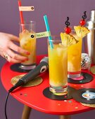 Samba cocktails with pineapple juice and coconut liquor for a music party