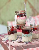 Rice pudding with fruit for a summer picnic