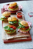 Veggie burgers with ketchup