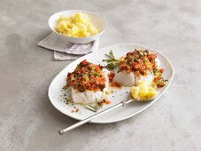 Cod fillets with celery and potato puree