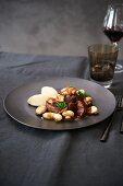 Beef bourguignon with celery puree