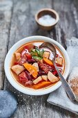 Soup with vegetables and sausage (Portugal)