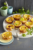 Portuguese woodruff and vanilla tartlets