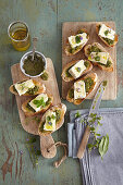 Crostini with Camembert and wild herbs