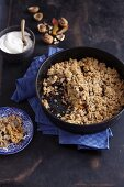 Apple crumble with cranberries and walnuts