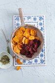 Sweet potato and beetroot crisps