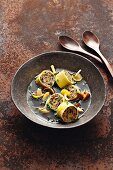 Duck bouillon with chestnut and mushroom cannelloni