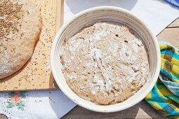 Rye bread in a proofing basket