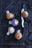 A homemade Advent calendar made of walnuts