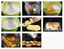 How to make apple doughnuts with icing sugar