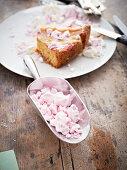 Rhubarb and marzipan cake with meringue