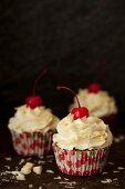 Maraschino Cherry Cupcakes with White Chocolate Buttercream