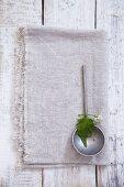 A garlic leaf and flower on a ladle