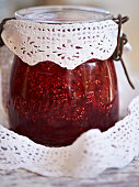 A jar of redcurrant and mint jelly