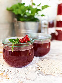 Jars of redcurrant and mint jelly