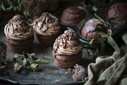 Vegan chocolate cupcakes with chocolate cream frosting