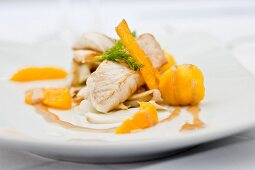 Turbot with orange quenelles