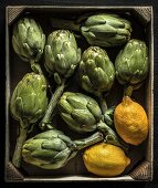 Artichokes and lemons in a small wooden crate