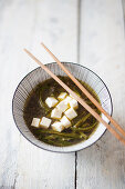 Miso soup with algae noodles