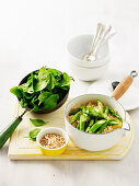 Brown Rice with Asparagus, Spinach and Almonds