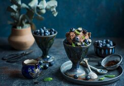 Chocolate ice cream with fresh blueberries