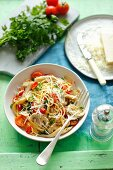 Spaghetti with oyster mushrooms, regular mushrooms and cherry tomatoes